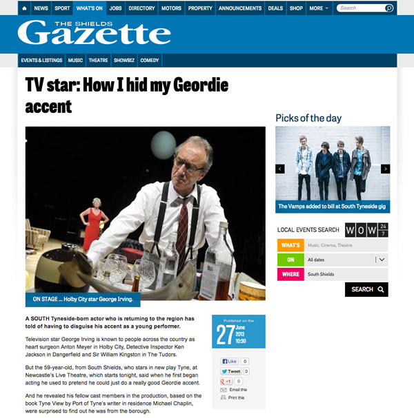 George Irving Interview - The Shields Gazette